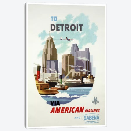 American Airlines And Sabena To Detroit Canvas Print #LIV21} by Unknown Artist Canvas Art