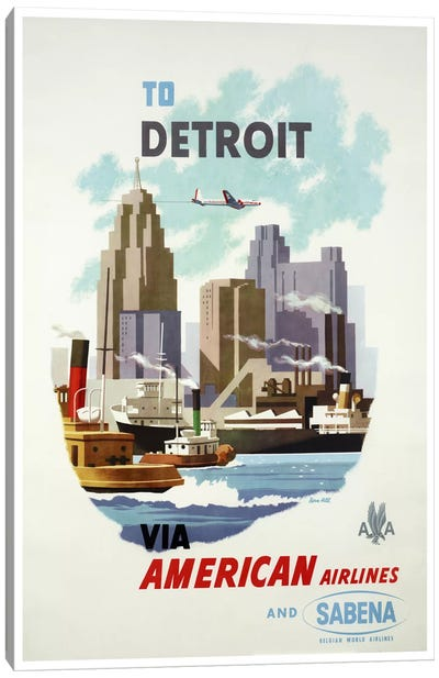 American Airlines And Sabena To Detroit Canvas Art Print