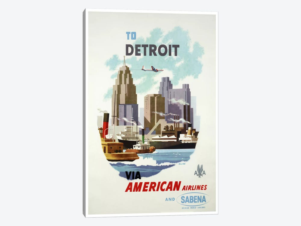 American Airlines And Sabena To Detroit by Unknown Artist 1-piece Canvas Print