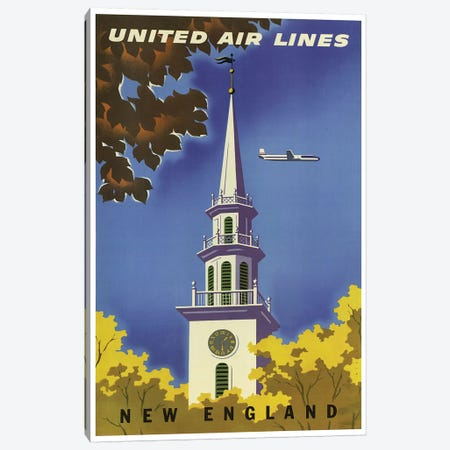 New England - United Airlines I Canvas Print #LIV221} by Unknown Artist Canvas Art