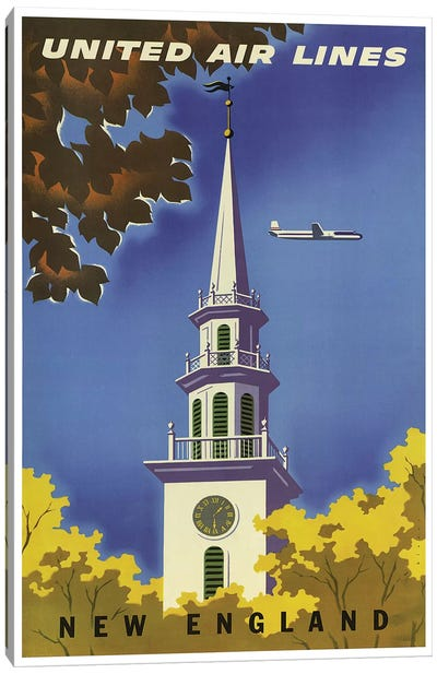 New England - United Airlines I Canvas Art Print