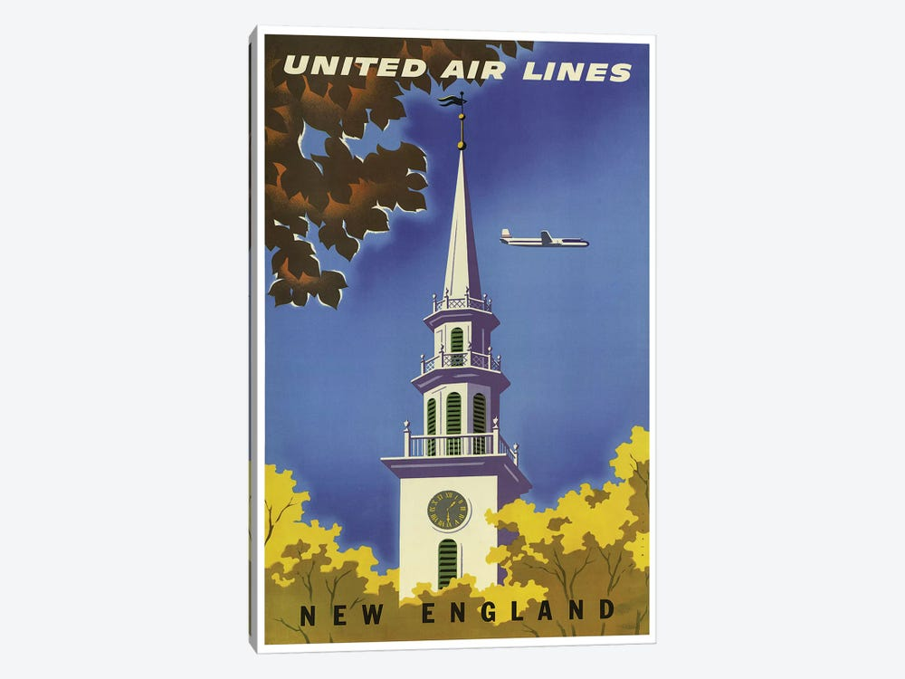 New England - United Airlines I by Unknown Artist 1-piece Canvas Print