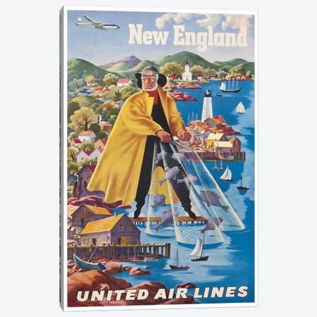 New England - United Airlines II Canvas Print #LIV222} by Unknown Artist Canvas Wall Art
