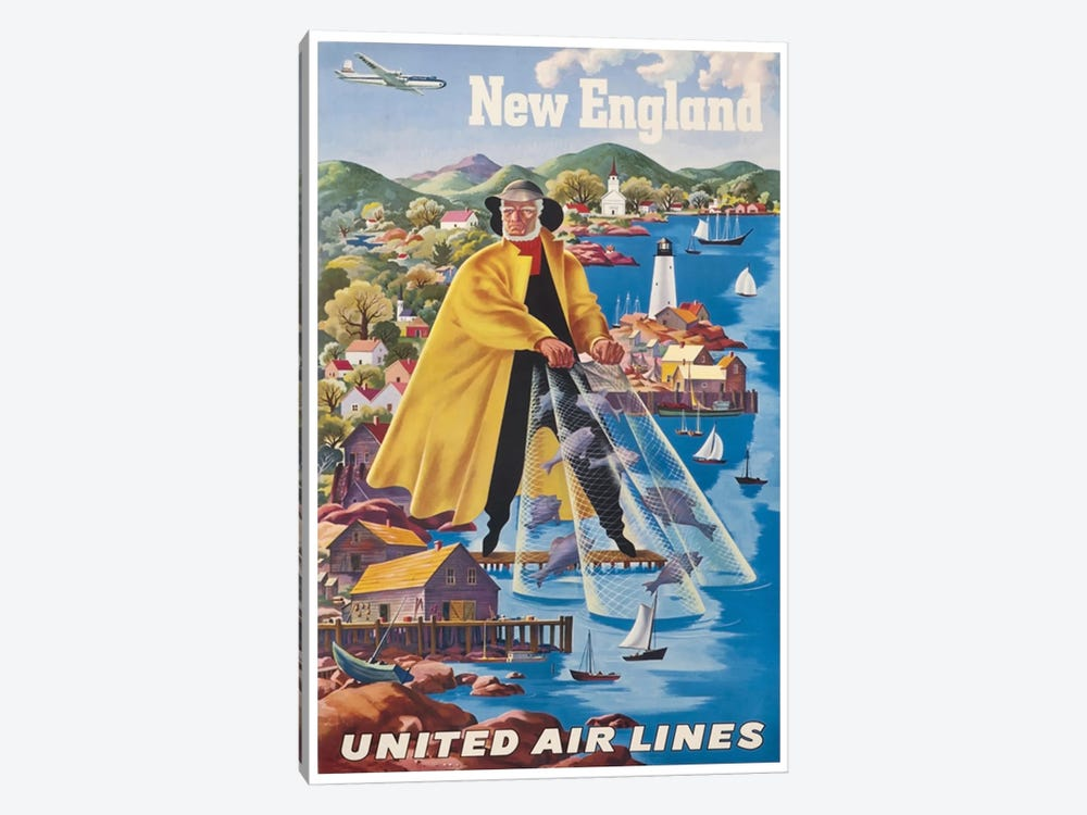 New England - United Airlines II by Unknown Artist 1-piece Canvas Art