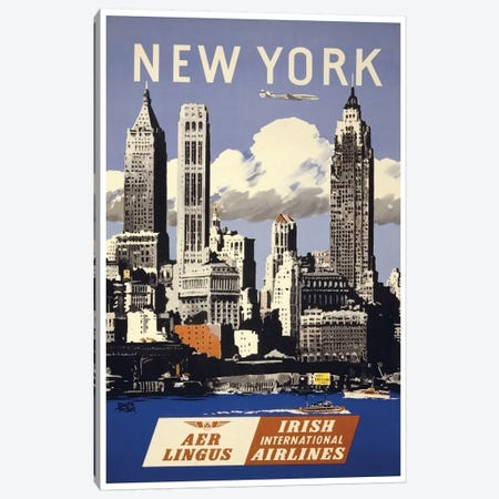 New York - Aer Lingus Irish International Airlines Canvas Print #LIV226} by Unknown Artist Canvas Art Print