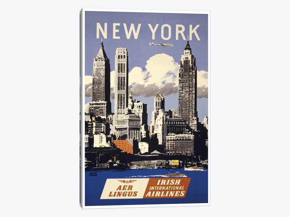 New York - Aer Lingus Irish International Airlines 1-piece Canvas Artwork