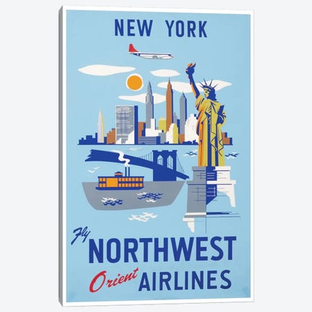 New York - Fly Northwest Orient Airlines Canvas Print #LIV229} by Unknown Artist Canvas Artwork