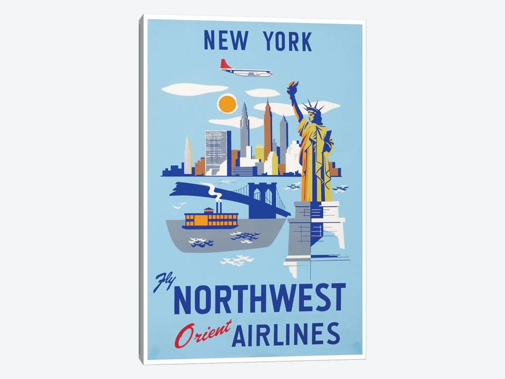New York - Fly Northwest Orient Airlines by Unknown Artist 1-piece Canvas Art Print