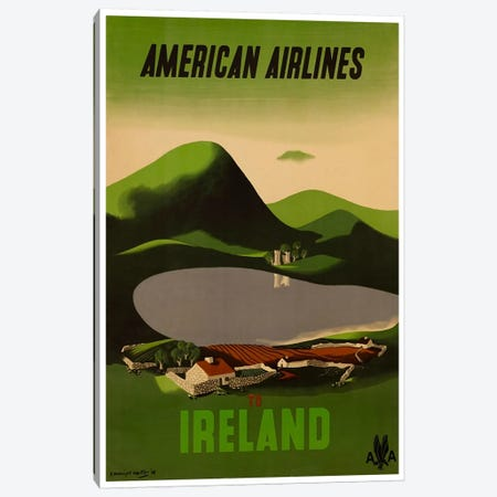 American Airlines To Ireland Canvas Print #LIV22} by Unknown Artist Canvas Artwork