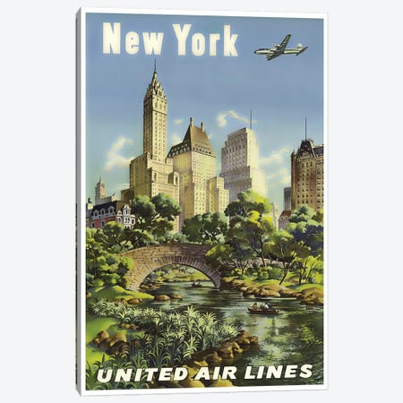 New York - United Airlines I Canvas Print #LIV231} by Unknown Artist Art Print