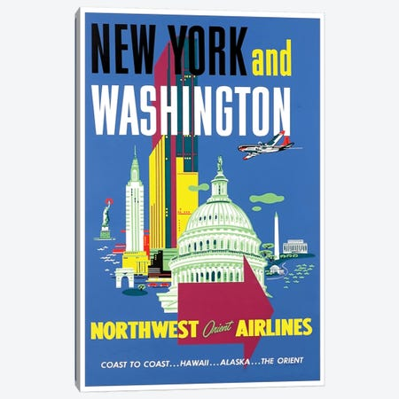 New York And Washington - Northwest Orient Airlines Canvas Print #LIV233} by Unknown Artist Canvas Print