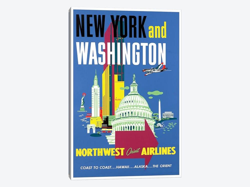 New York And Washington - Northwest Orient Airlines by Unknown Artist 1-piece Canvas Artwork