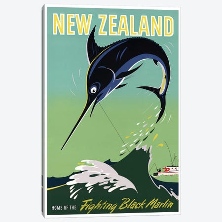 New Zealand: Home Of The Fighting Black Marlin Canvas Print #LIV237} by Unknown Artist Canvas Artwork