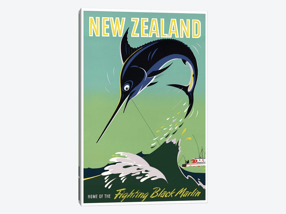 New Zealand: Home Of The Fighting Black Marlin by Unknown Artist 1-piece Canvas Artwork
