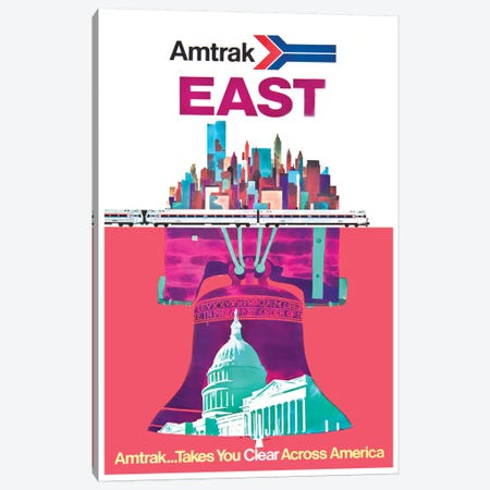 Amtrak East: Amtrak…Takes You Clear Across America Canvas Print #LIV23} by Unknown Artist Canvas Wall Art