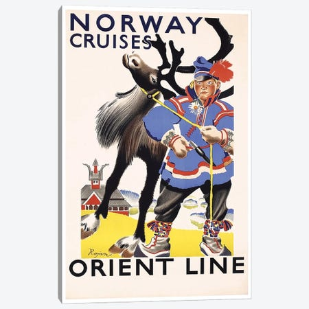 Norway Cruises, Orient Line Canvas Print #LIV241} by Unknown Artist Canvas Wall Art