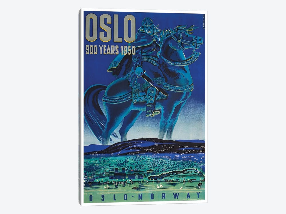 Oslo, Norway: 900 Years 1950 1-piece Canvas Wall Art