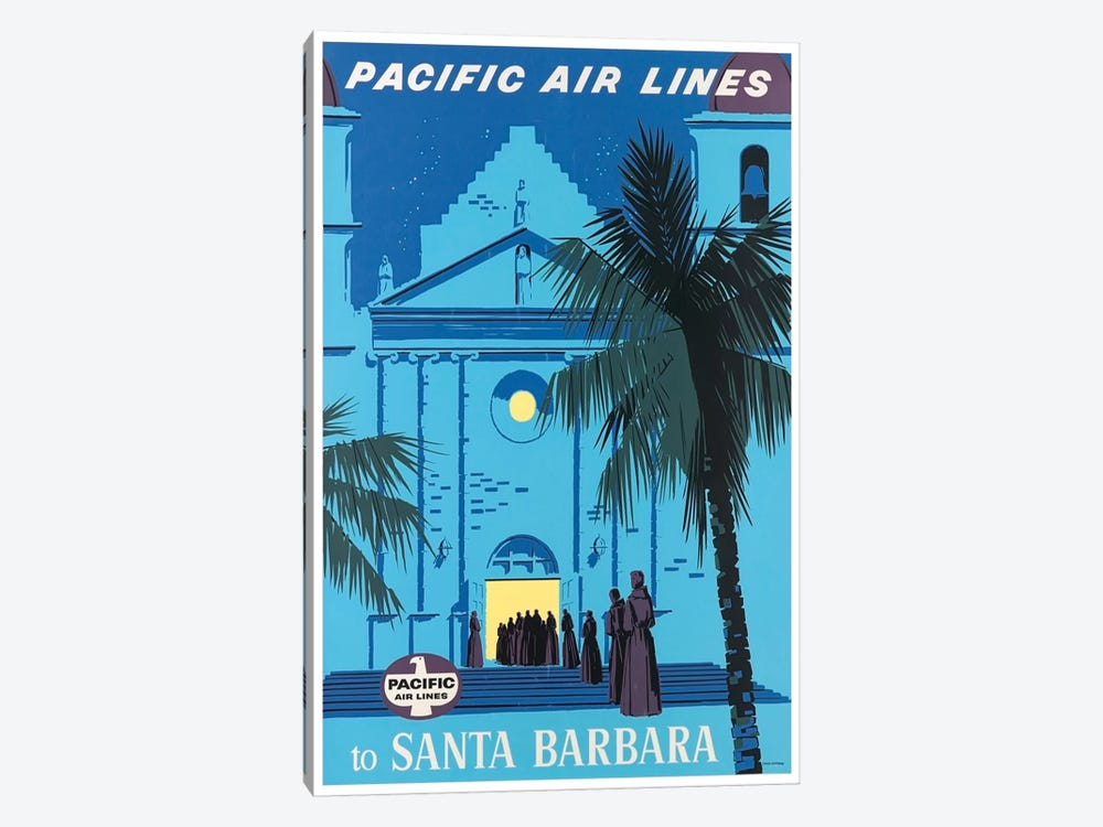 Pacific Airlines To Santa Barbara by Unknown Artist 1-piece Art Print