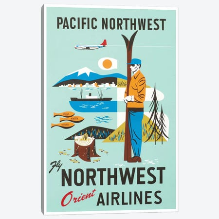Pacific Northwest - Fly Northwest Orient Airlines Canvas Print #LIV246} by Unknown Artist Art Print