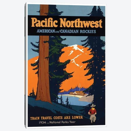 Pacific Northwest American And Canadian Rockies: National Parks Year, 1934 Canvas Print #LIV247} Canvas Print