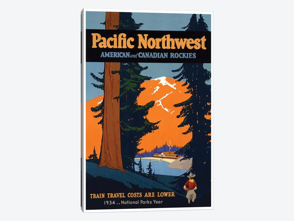 Pacific Northwest American And Canadian Rockies: National Parks Year, 1934 1-piece Canvas Print