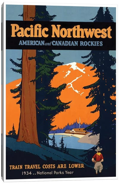 Pacific Northwest American And Canadian Rockies: National Parks Year, 1934 Canvas Art Print