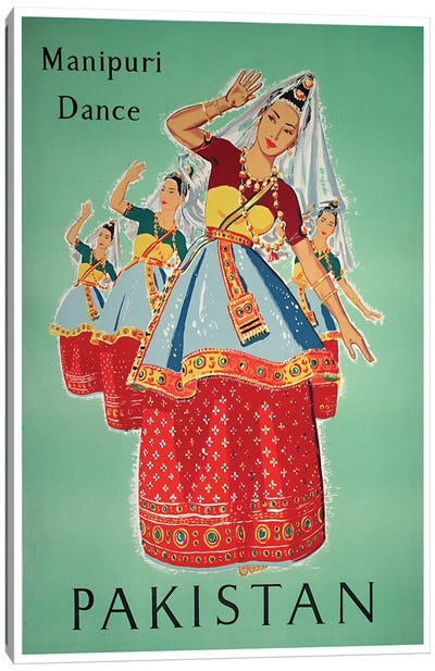 Pakistan - Manipuri Dance Canvas Print #LIV250