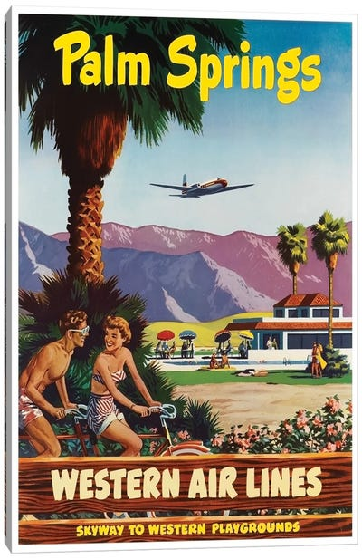 Palm Springs - Western Airlines, Skyway To Western Playgrounds Canvas Art Print