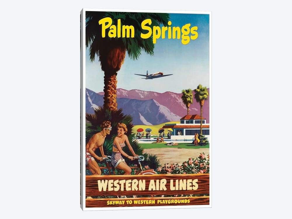 Palm Springs - Western Airlines, Skyway To Western Playgrounds by Unknown Artist 1-piece Canvas Artwork