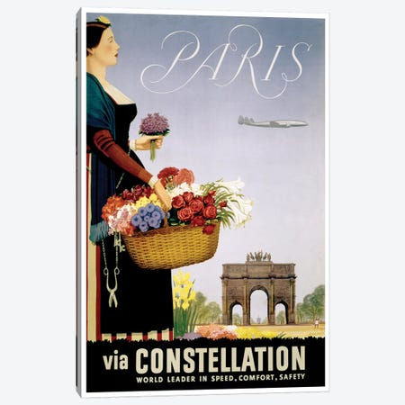 Paris Via Constellation Canvas Print #LIV256} by Unknown Artist Canvas Artwork
