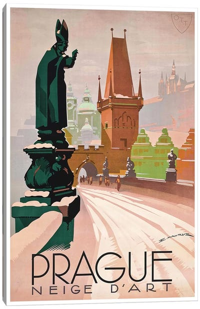 Prague: Neige d'Art Canvas Art Print