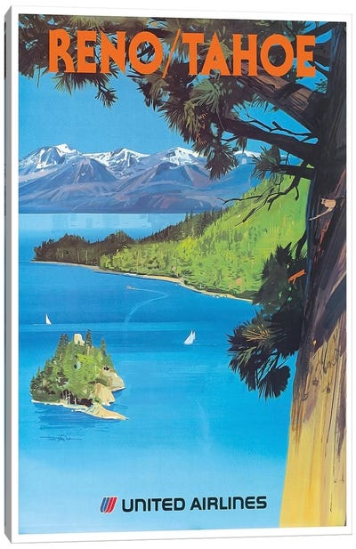 Reno/Tahoe - United Airlines Canvas Art Print