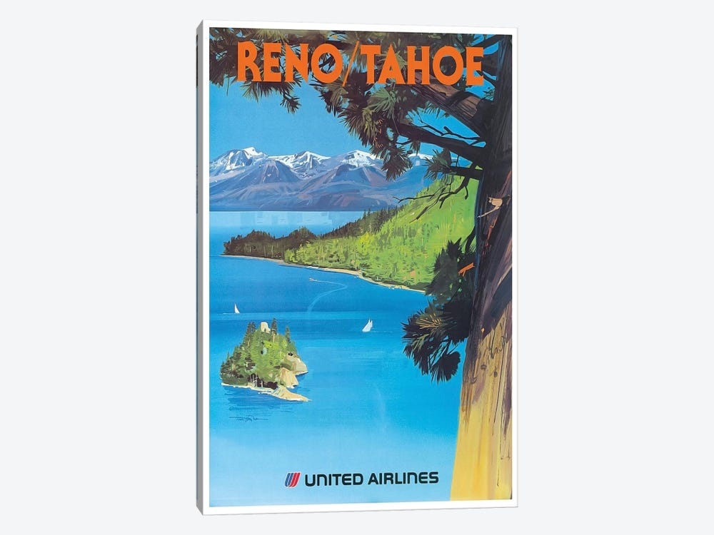 Reno/Tahoe - United Airlines by Unknown Artist 1-piece Canvas Wall Art