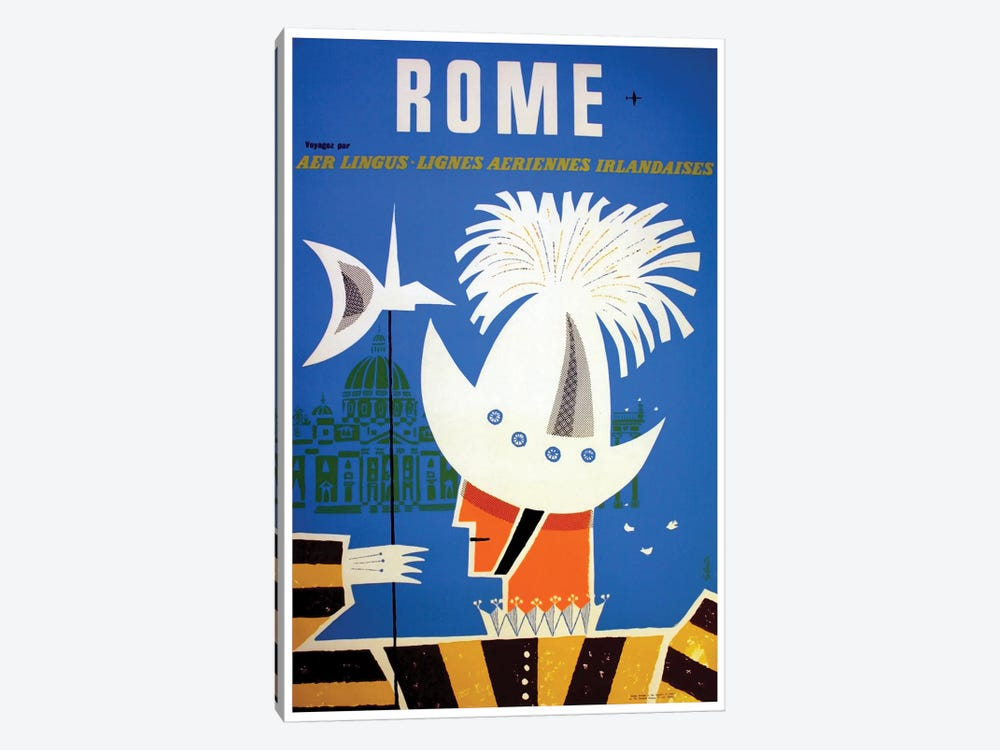 Rome - By Aer Lingus by Unknown Artist 1-piece Canvas Art Print