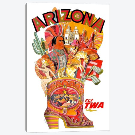 Arizona - Fly TWA I Canvas Print #LIV27} by Unknown Artist Canvas Art Print