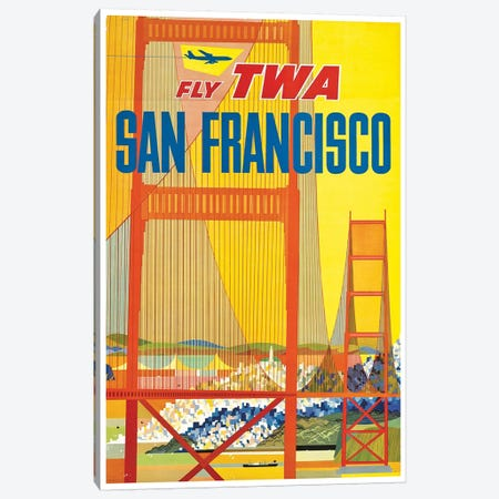 San Francisco - Fly TWA I Canvas Print #LIV287} by Unknown Artist Canvas Print