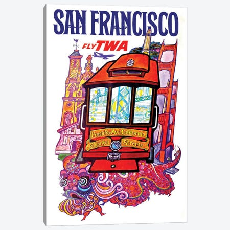 San Francisco - Fly TWA II Canvas Print #LIV288} by Unknown Artist Canvas Wall Art