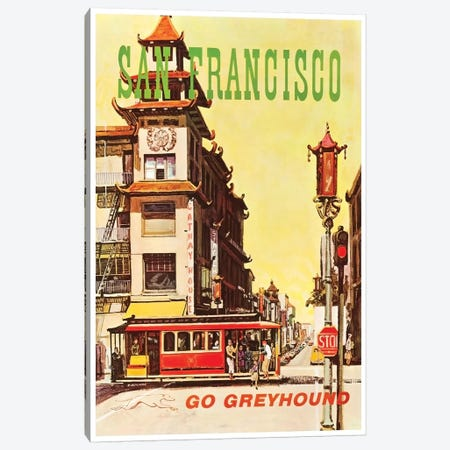 San Francisco - Go Greyhound Canvas Print #LIV289} by Unknown Artist Canvas Wall Art