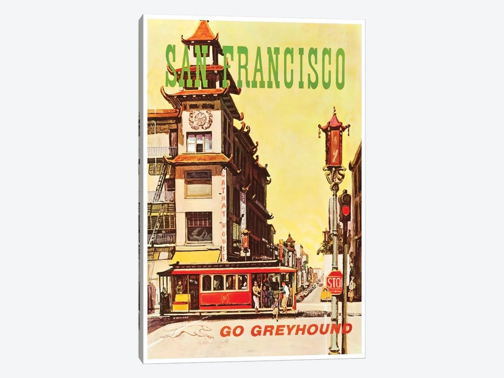 San Francisco - Go Greyhound by Unknown Artist 1-piece Canvas Art Print
