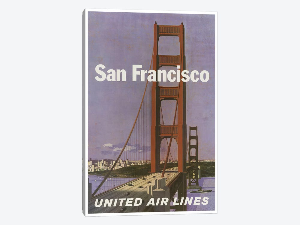 San Francisco - United Airlines by Unknown Artist 1-piece Canvas Art