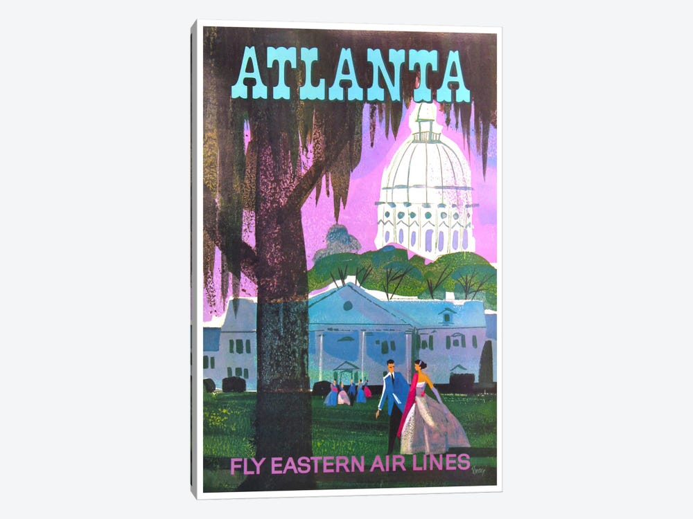Atlanta - Fly Eastern Air Lines by Unknown Artist 1-piece Canvas Art Print