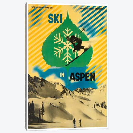 Ski In Aspen Canvas Print #LIV307} by Unknown Artist Canvas Wall Art