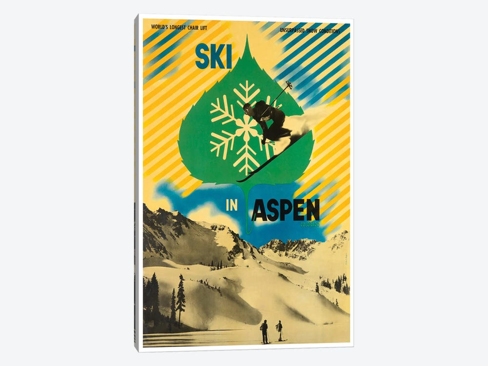 Ski In Aspen by Unknown Artist 1-piece Canvas Artwork