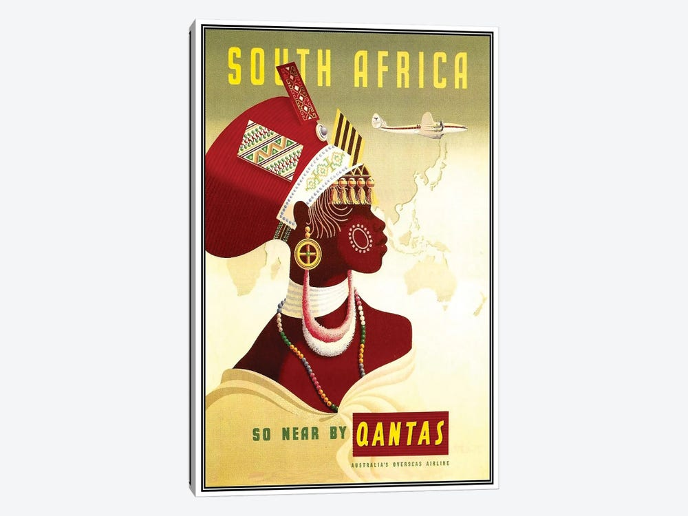 South Africa - So Near By Qantas by Unknown Artist 1-piece Canvas Artwork