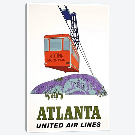 Atlanta, Stone Mountain - United Airlines Canvas Print #LIV30} by Unknown Artist Art Print