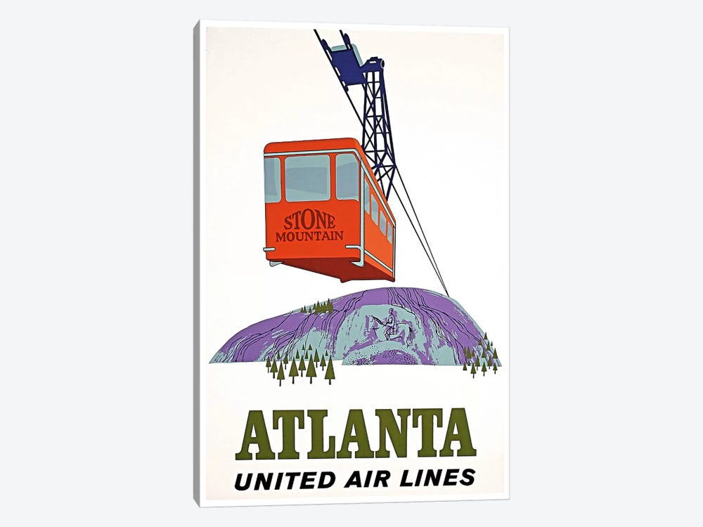 Atlanta, Stone Mountain - United Airlines by Unknown Artist 1-piece Canvas Print