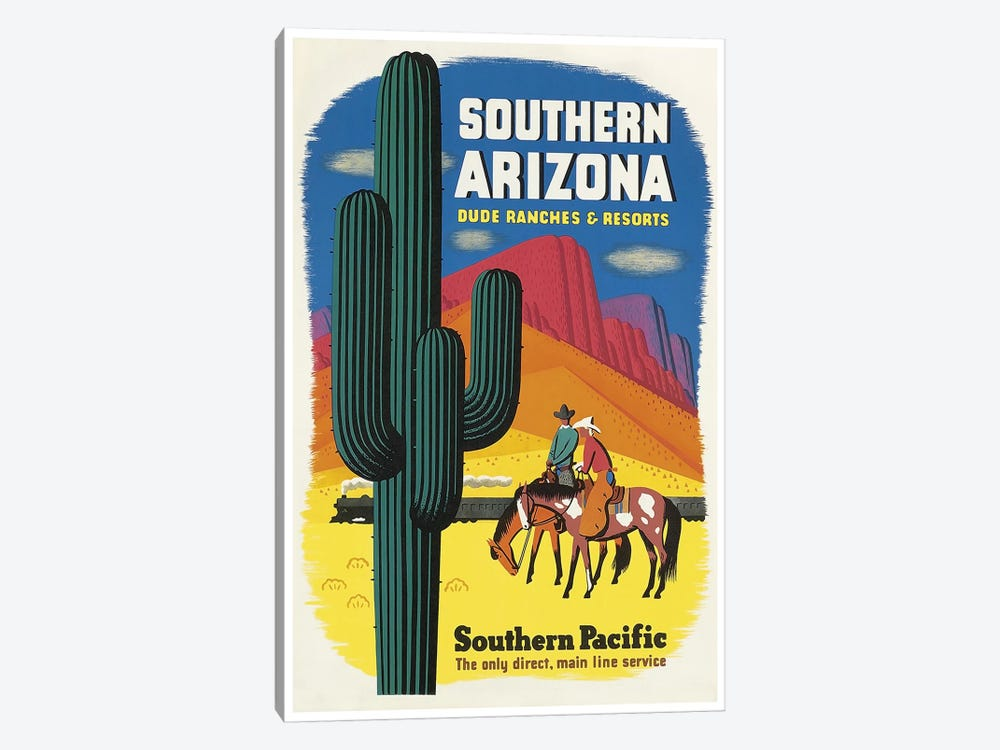 Southern Arizona: Dude Ranches & Resorts - Southern Pacific by Unknown Artist 1-piece Canvas Art Print