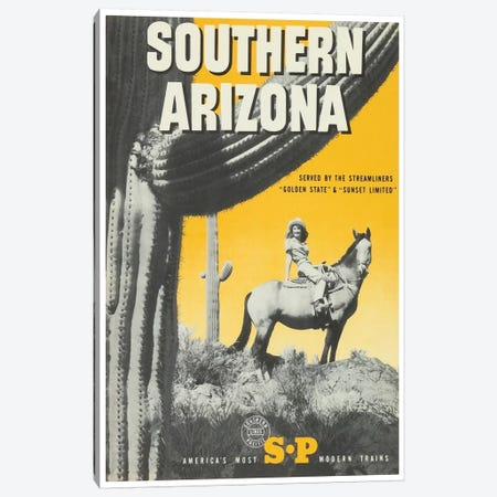 "Southern Arizona: Served By The Streamliners ""Golden State"" & ""Sunset Limited"" - Southern Pacific Canvas Print #LIV316} by Unknown Artist Canvas Art Print"