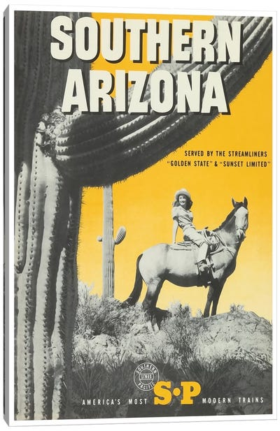 """Southern Arizona: Served By The Streamliners """"Golden State"""" & """"Sunset Limited"""" - Southern Pacific Canvas Print #LIV316"""