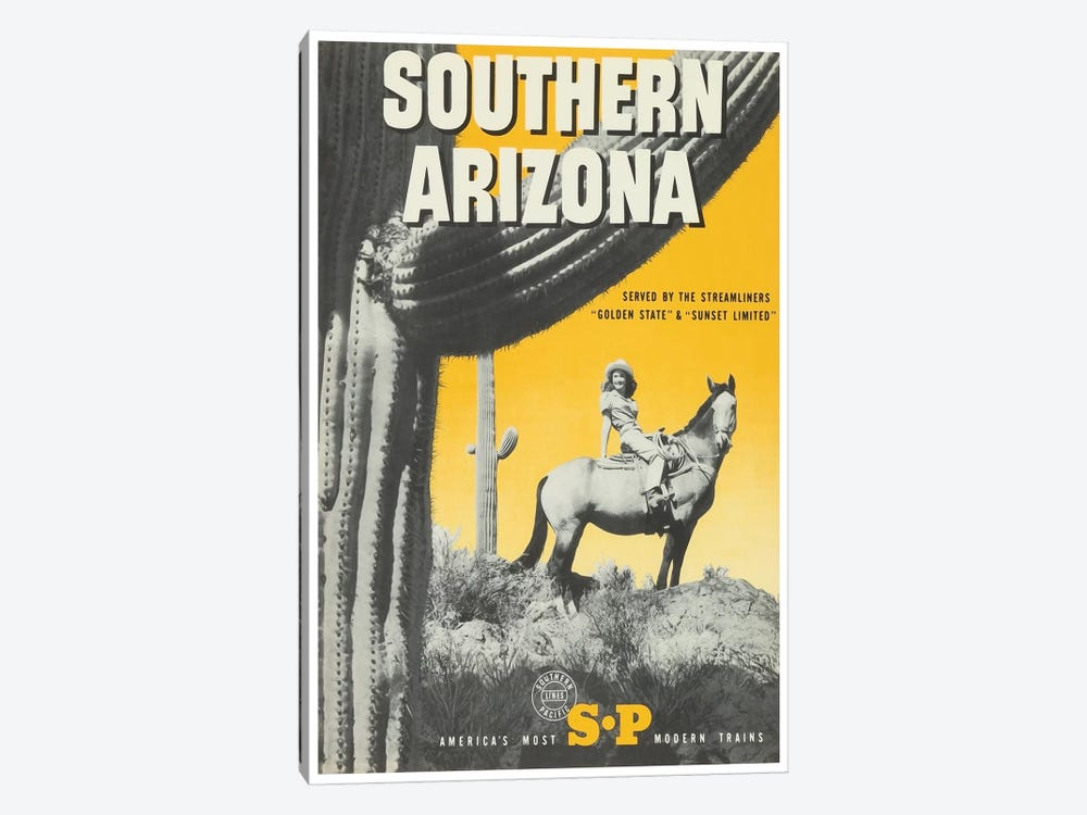 "Southern Arizona: Served By The Streamliners ""Golden State"" & ""Sunset Limited"" - Southern Pacific by Unknown Artist 1-piece Canvas Wall Art"